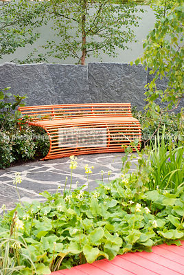 Bench, Contemporary garden, Resting area, Stone, Low wall stone, Digital