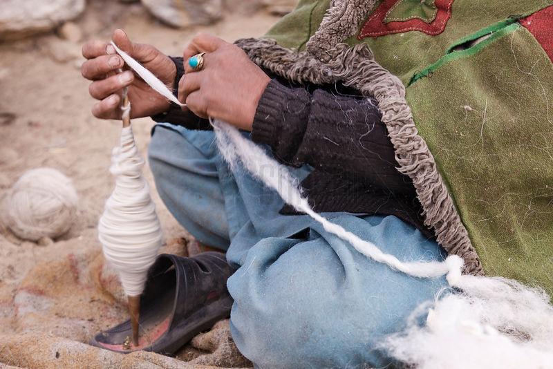 Nomadic Woman Spinning Pashmina Wool