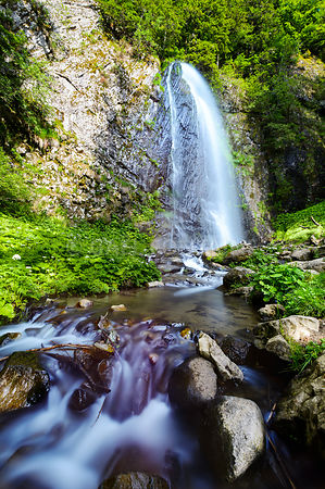 Queureuih waterfall in long exposure in Auvergne large