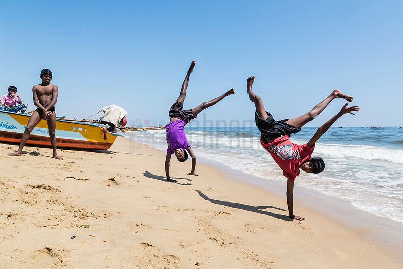 Boys Doing Handstands on Marina Beach