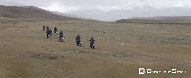 Mongolian Motorcycle Riders near Otgontenger South Gobi Mongolia