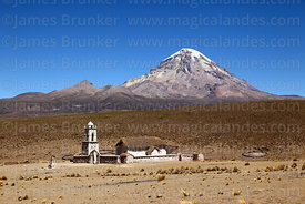Church at Cotasaya and Sajama volcano, Sajama National Park, Bolivia