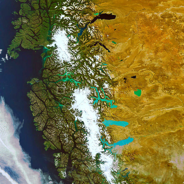 EARTH Patagonia -- c.2004 -- This Envisat image highlights the contrasting landscapes of the Patagonia Plateau in Argentina