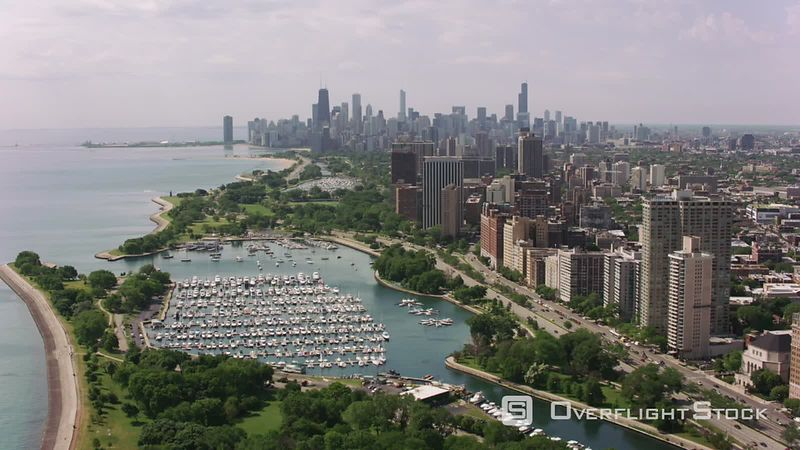 Chicago, Illinois Flying over Belmont Harbor towards downtown Chicago.  Shot with Cineflex and RED EpicW Helium.