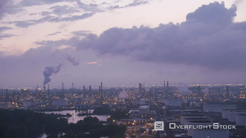 New Jersey Flying by industrial area with oil refinery in early morning.   Shot with Cineflex and RED EpicW Helium.
