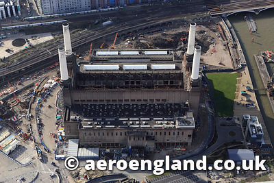 aerial photograph of Battersea Power  Station London UK