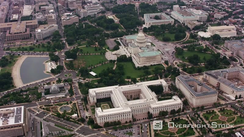 Washington, D.C. High angle aerial view of US Capitol building. Shot with Cineflex and RED EpicW Helium.