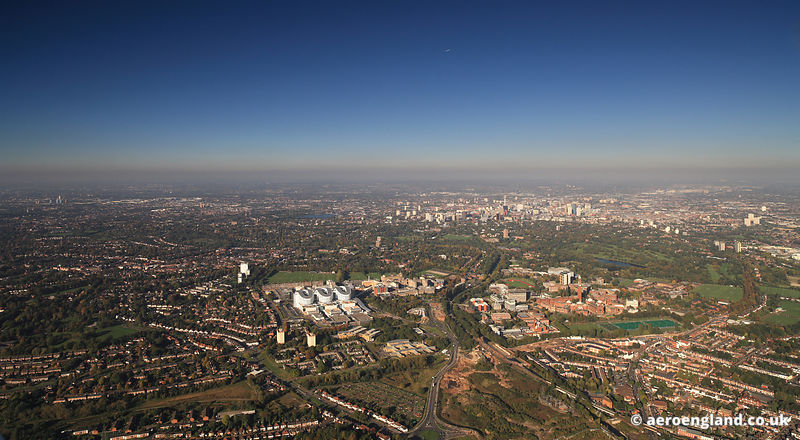 Panoramic aerial photograph of Edgbaston Birmingham UK