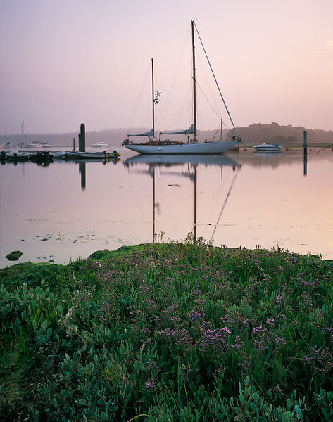 A ketch is moored between the piles at Buckler's Hard on the mirror-like Beaulieu river. The soft lilac in the sky light bathes the Sea Lavender in the foreground as the tide rises.
