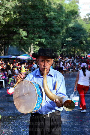 Erquero musician playing erke (horn) and caja (drum) at carnival parade, Tarija, Bolivia