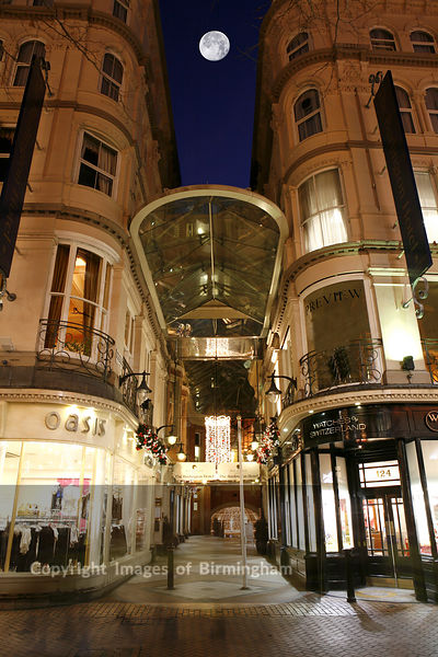 Burlington Arcade in Birmingham City Centre. Retail outlets at Christmas time.