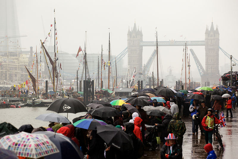 The Tower Bridge Bascules Open in Salute During the Thames River Pageant