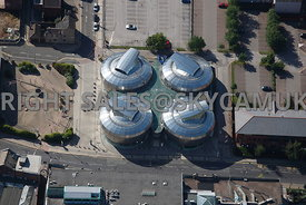 Sheffield aerial photograph of the National Centre for Popular Music the HUB on Paternoster Row