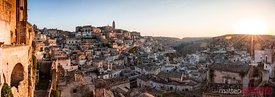 Panoramic sunrise over Sassi di Matera, Italy