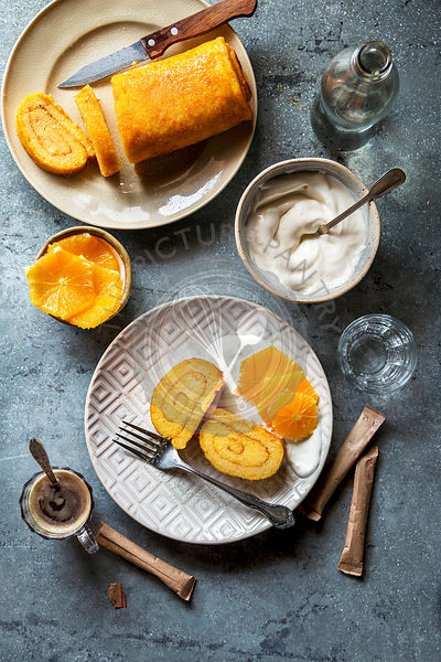 Portuguese orange roulade served with creme fraiche