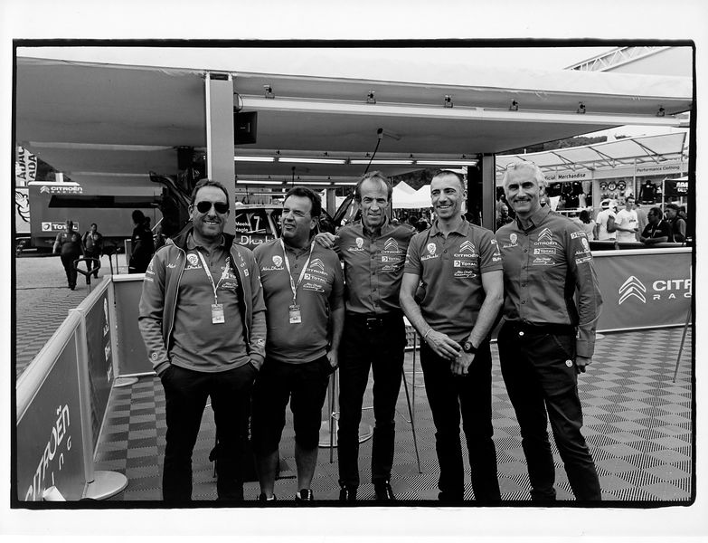 Laurent Poggi, Patrick Magaud, Daniel Grataloup, Alexandre Bengué, Didier Clément photo Francois Baudin / Austral, black and white picture with analog camera during Rally Deutschland in Bostalsee, on August 16, 2017