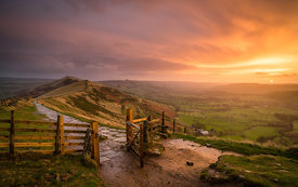 November sunrise on the Great Ridge, Mam Tor
