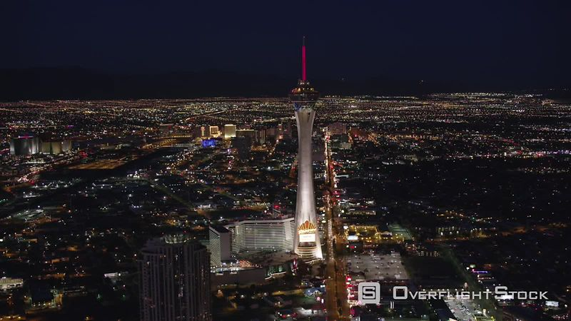 Las Vegas, Nevada Approaching the Stratosphere tower on the Las Vegas Strip.  Shot with Cineflex and RED EpicW Helium.