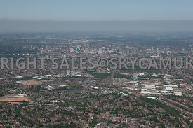 Birmingham high level wide angle aerial photograph looking from Tyseley down the main railway line into Birmingham showing the urbanisation and industrial area and the railway freight terminal