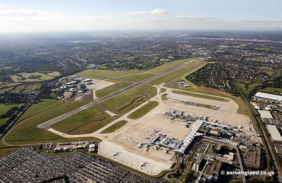 aerial photograph of  Birmingham Airport   West Midlands  England UK