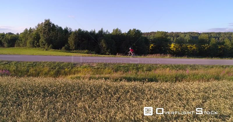 Man biking on the countryside, C4K aerial sideway view following a biker driving on a road, between wheat fields, on a sunny summer evening sunset, in Uusimaa, Finland