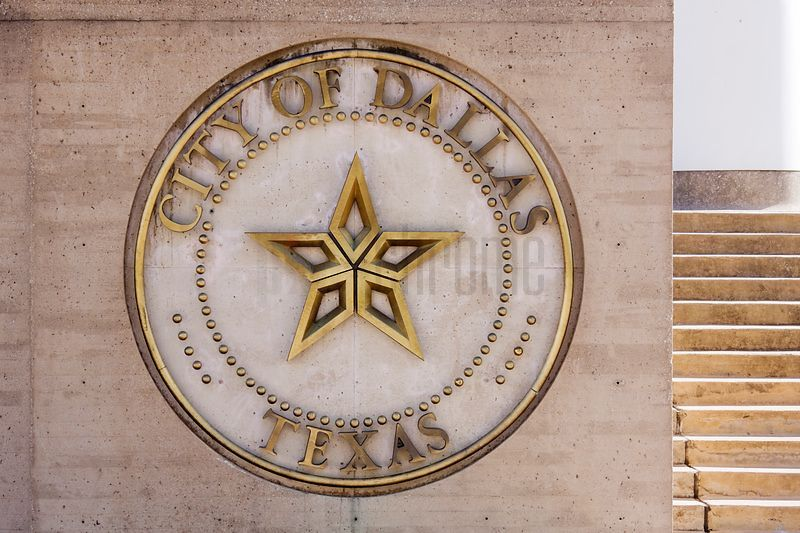 Sign for the Dallas City Hall