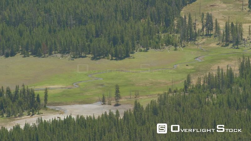 Nez Perce Creek winds through an open meadow in western Yellowstone National Park
