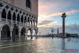 St marks square flooded by acqua alta, Venice, Italy