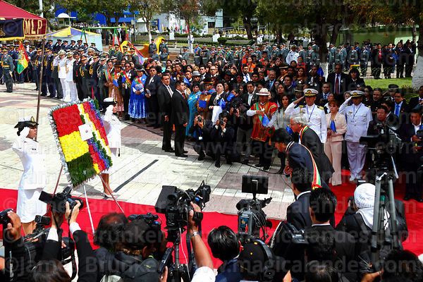 The national press covers the arrival of Bolivian president Evo Morales Ayma for official events for Dia del Mar / Day of the Sea, Plaza Avaroa, La Paz, Bolivia