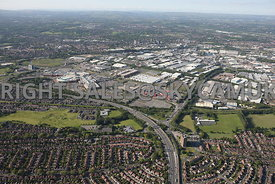 Manchester aerial photograph of Trafford Park and the Intu Trafford Centre looking from across the M 60 motorway and Junction 9 Trafford Park Estate