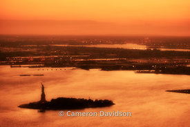 Aerial photograph of the Statue of Liberty in New York Harbor.