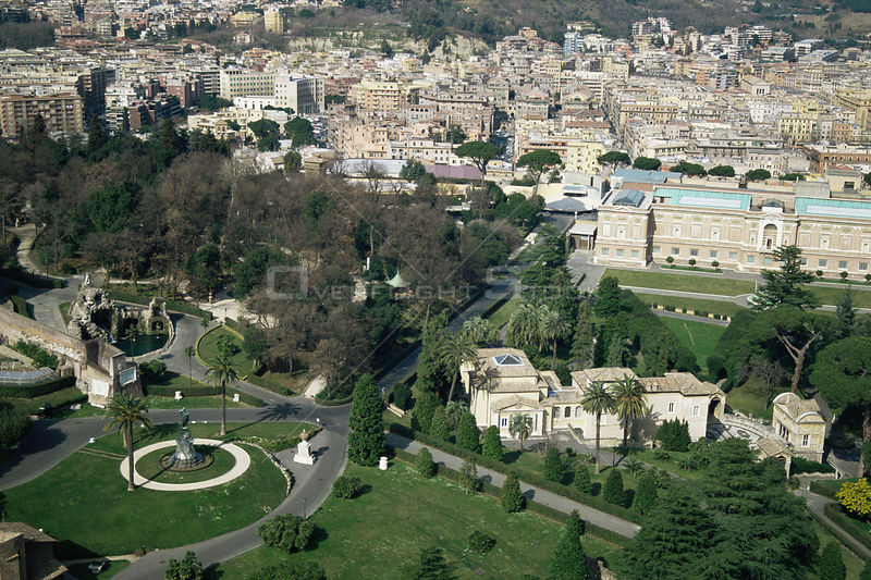 Aerial view of Vatican gardens, Rome, Italy. 1995.