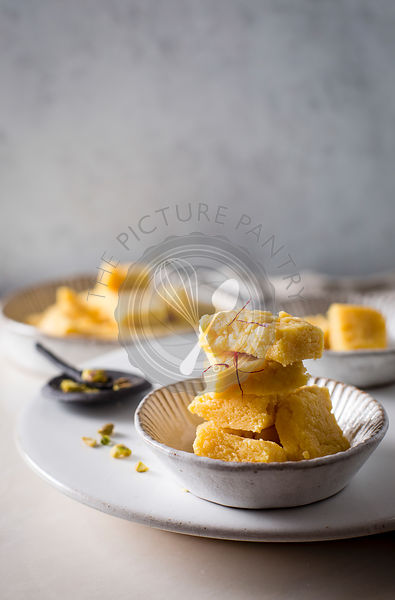 Mysore pak / Besan fudge in a ceramic bowl