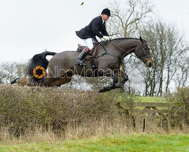 James Mossman jumping a hedge by Puss's Bushes - The Cottesmore at The Fox and Hounds