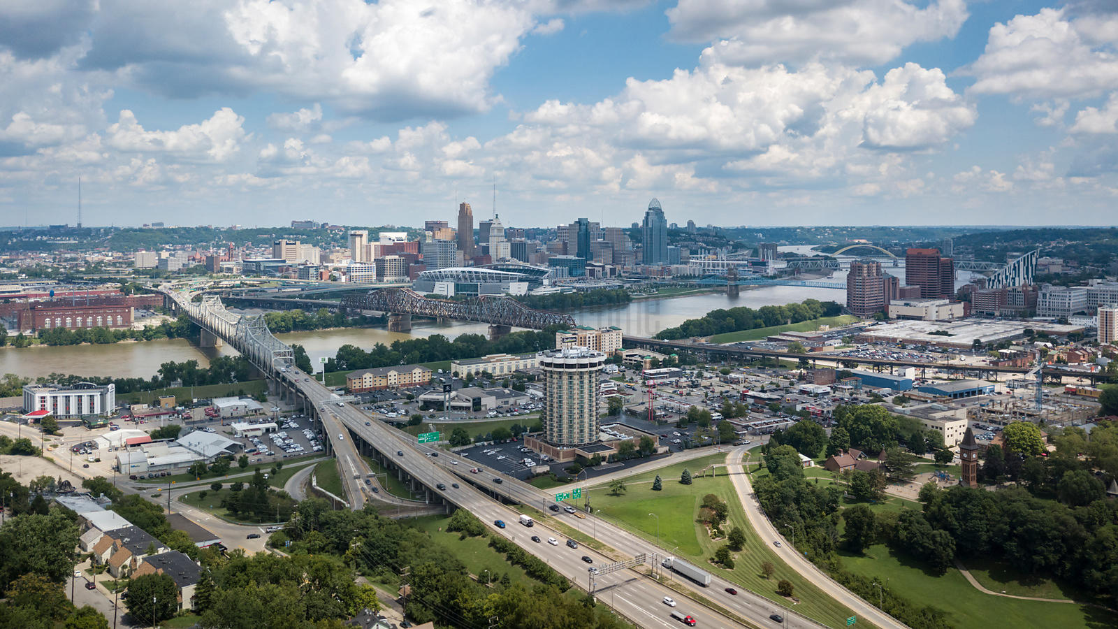 Elevated View of the Cincinnati Skyline from Devou Park