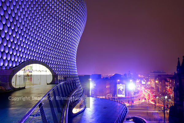 The Selfridges building in Birmingham City Centre, England.  Part of the Bullring Shopping Centre. At night.