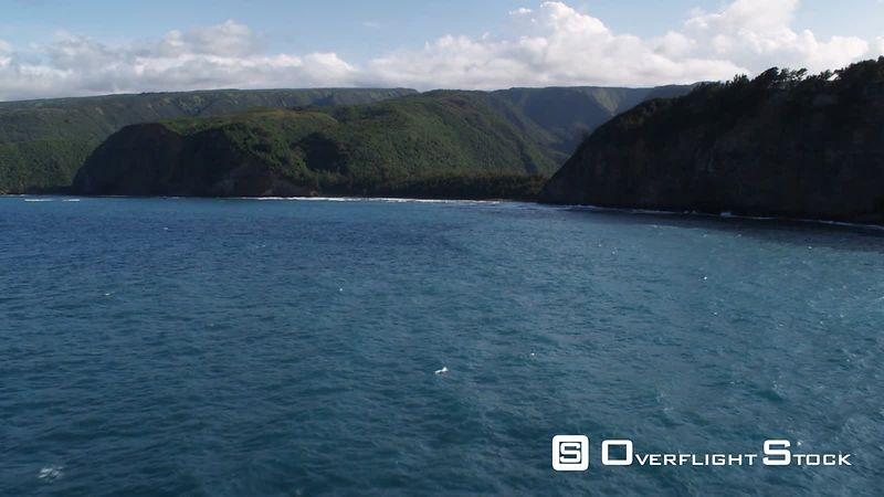 Flying toward mouth of Pololu Valley, Hawaii.
