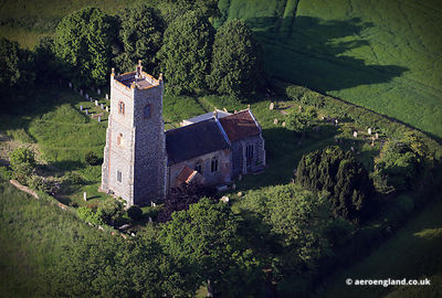 aerial photograph of St Mary's Church , Shotesham, Norfolk England UK.