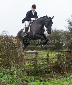 Fred Hopkinson jumping near the new Jubilee Covert - Cottesmore Hunt at Deane Bank Farm 4/12/12