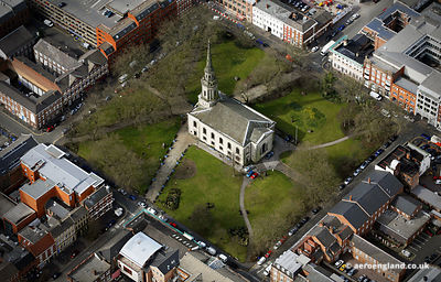 aerial photograph of St Paul's Square, Birmingham , West Midlands England UK