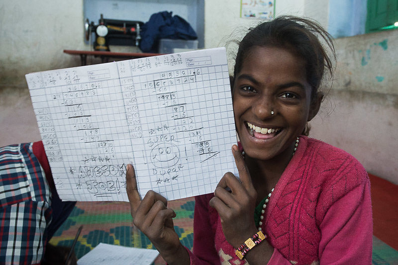 Anjali has learned to do long division in less than two years of school in her life!