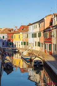 Colorful houses near canal, Burano, Venice