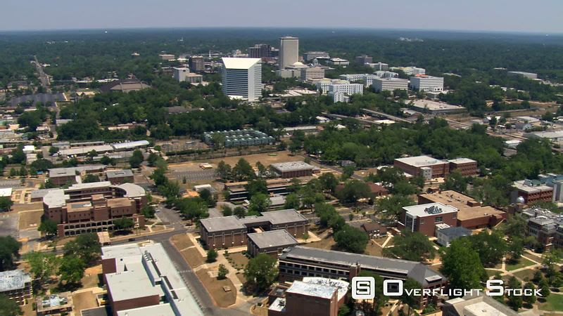 Aerial over downtown Tallahassee, Florida.