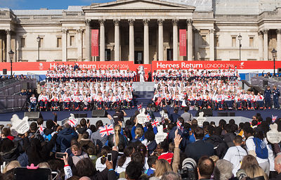 The Athletes and Crowd in Trafalgar Square with The National Gallery Behind