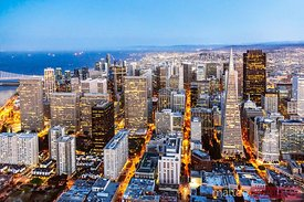 Aerial of downtown with Transamerica pyramid, San Francisco, USA