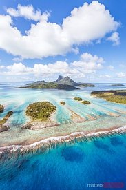 Aerial view of small motus, Bora Bora island, French Polynesia