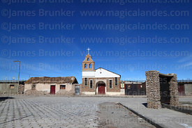Church and main square in Colchani village, Bolivia
