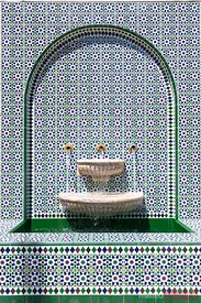Oman, Muscat. Ornate fountain, Asma Bint Alawi Mosque