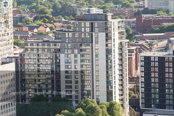 Aerial photograph of Birmingham City Centre, England. Apartments central birmingham