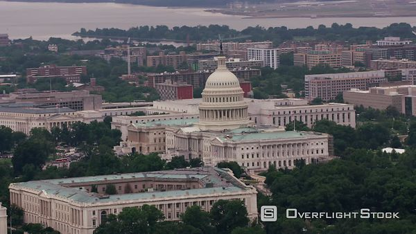 Washington, D.C. Aerial view of the Capitol.  Shot with Cineflex and RED EpicW Helium.